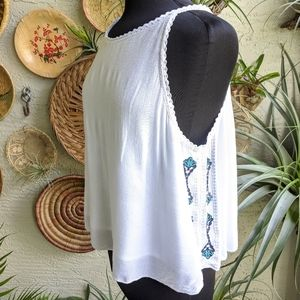 BKE Boutique L Embroidered Tank Top